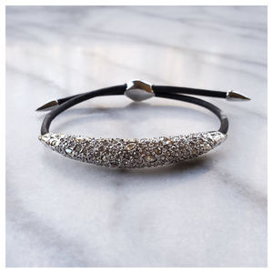 Alexis Bittar Crystal Encrusted ID Bracelet Silver